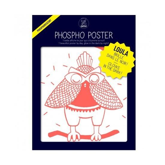 Poster phosphorescent Loula la chouette