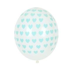 5 ballons imprimés - coeur acqua
