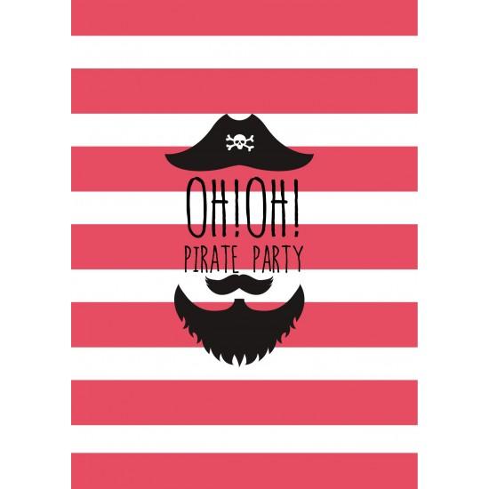 8 cartons d'invitation anniversaire pirate