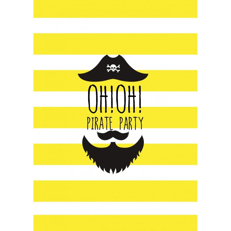 8 cartons d'invitation anniversaire pirate - Happy Family