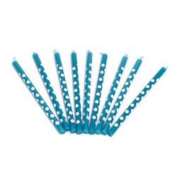 12 bougies bleues à pois blancs
