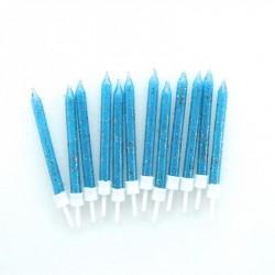 12 bougies à paillettes - bleu