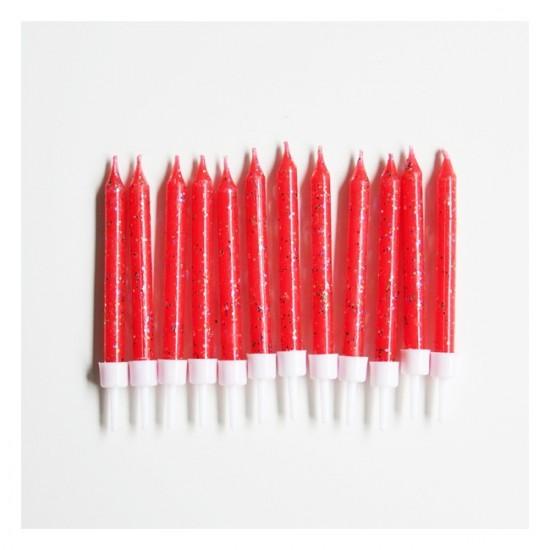 12 bougies à paillettes - rouge