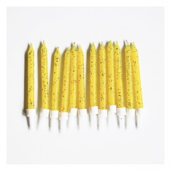 12 bougies à paillettes - jaune