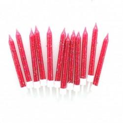 12 bougies à paillettes - fuchsia
