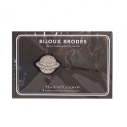 """Bijoux brodé sur barrette - """"Planète argentée"""" Macon & Lesquoy"""