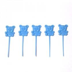 18 pics 'teddy bear' 8 cm bleu