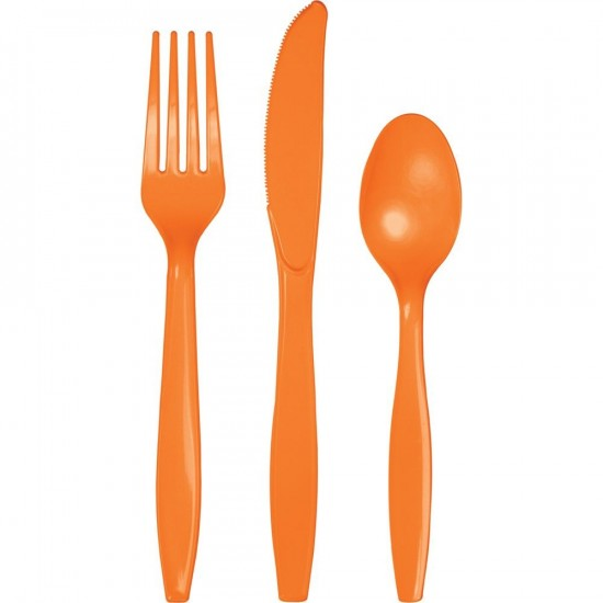 24 couverts en plastique - orange