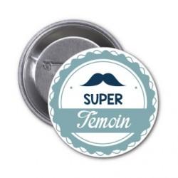 """Badge """"Super témoin"""" bleu moustache au choix"""