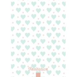 8 cartons d'invitation coeur acqua