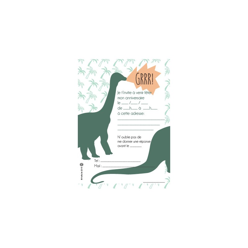 8 cartons d 39 invitation anniversaire dinosaure happy family. Black Bedroom Furniture Sets. Home Design Ideas