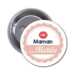 """Badge """"Maman de la mariée"""""""