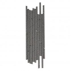 25 pailles chevrons noirs