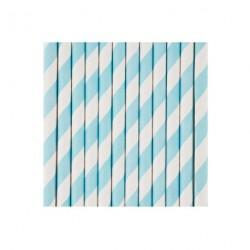 25 pailles en papier à rayures bleues