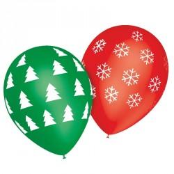 8 ballons noël-sapin et flocon