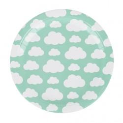 8 assiettes en carton - nuage