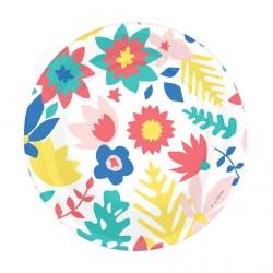 8 assiettes en carton - fleurs tropicales