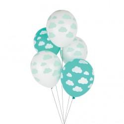 5 ballons imprimés - nuage