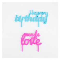 "cake topper ""Happy Birthday"" & ""Made with love"""
