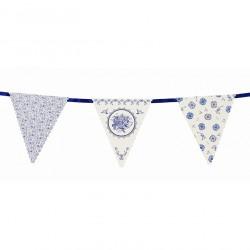 Guirlande fanion porcelaine bleue