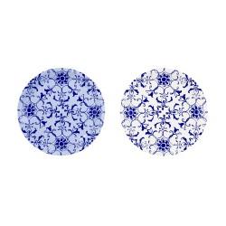 12 petites assiettes porcelaine bleue
