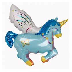 Ballon aluminium mylar-Licorne ailée bleue