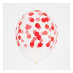 5 ballons imprimés confettis - rouge