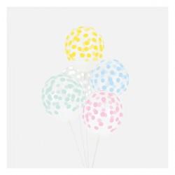5 ballons imprimés confettis - Mélange pastel