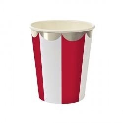 Gobelets motif rayé rouge et blanc bords arrondis  -  argent