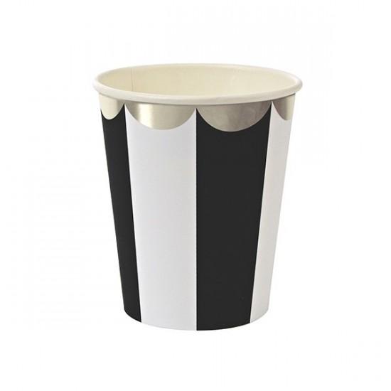 Gobelets motif rayé noir et blanc bords arrondis  -  argent