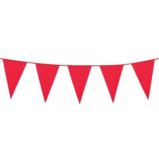 Guirlande fanions en plastique rouge