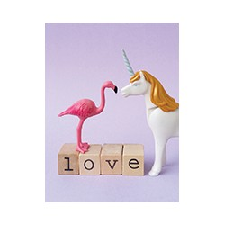 Carte Flamant rose-Love licorne