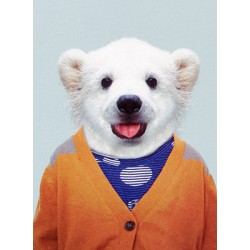 Mini carte Zoo-Ours blanc gilet