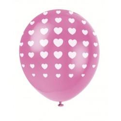 5 ballons latex - Fuchsia imprimé coeur blanc