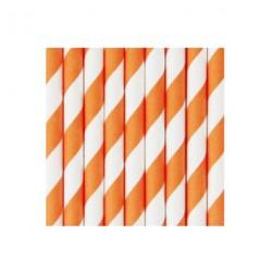 25 pailles en papier à rayures oranges