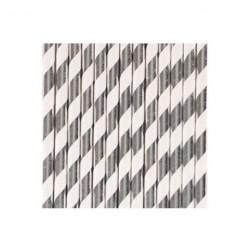 25 pailles - rayures argentées métallisées