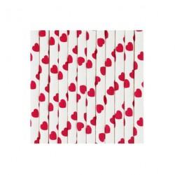 25 pailles en papier blanches à coeur rouge