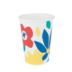 8 gobelets en carton - fleurs tropicales