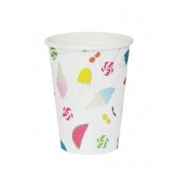 8 gobelets en carton - summertime