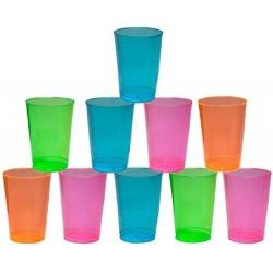 50 gobelets en plastique - 4 couleurs Fluo